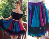 JEWEL Tone 1970's 80's Vintage Teal Blue + Purple Skirt w/ Ruffled and Black Lace // by Fun & FANCY Originals