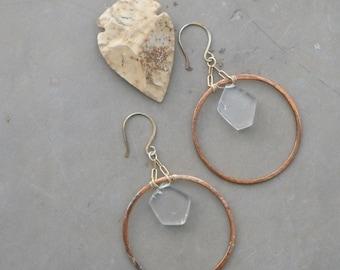 metallic crystal hoop earrings, dangle statement earrings, quartz hoop gold earrings