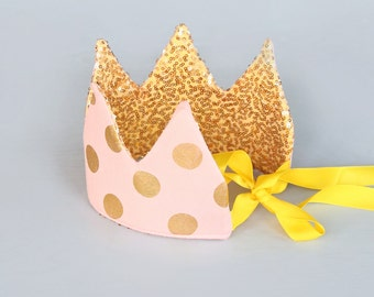 Dress Up Crown - Sequin Crown - Birthday Crown - Blush and Gold Polka Dots Crown REVERSE to Gold Sequin Crown - Fits all - Reversible Crown