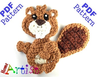Beaver Crochet Applique Pattern