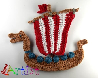 Crochet Applique WIkinger Ship