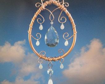 "Crystal, Copper Sculpture, Mobile, Rose Quartz, Home Decor, New Age Decor, Window Hanging, Ornament, Metaphysical, Garden Art, ""Moon Drop"""