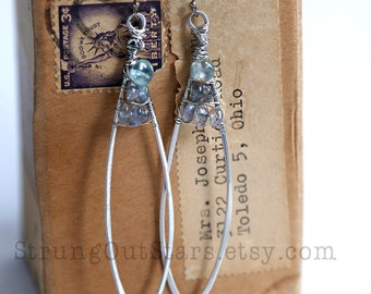 Sea and Sky - Strung-Out guitar string feather earrings with moss aquamarine labradorite