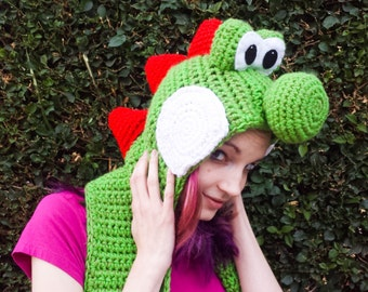 Yoshi Inspired Scoofie - Cartoon Dinosaur Wooly World Style Hooded Scarf - Crocheted Acrylic Yarn, Custom Colors Available - Nintendo Geek