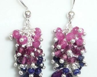 Sugar Plums - mystic kyanite, pink sapphires, rhodolite garnets, blue lapis and sterling silver earrings