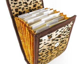 Circular Needle Case - Leopard - Needle Holder Needle Wallet Circular Needle Organizer Animal Print faux fur