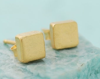 Mother's Day Thick Square Studs, sterling silver earrings, gold earrings, eco-friendly. Handcrafted by Chocolate and Steel