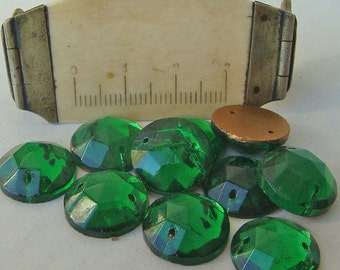 Glass Clear EMERALD GREEN Sew On Trim 13 mm Circle (9) Vintage Glass Bead Foil Flat Back Mirrored jc soegrd13 1898