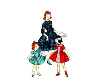 SALE 1950s Girls Full Skirt Dress Butterick 7415 Vintage Sewing Pattern Size 6