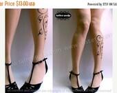 Sale/15%Off/EndsSep30/ sexy FLORA TATTOO knee-high socks Ultra Pale