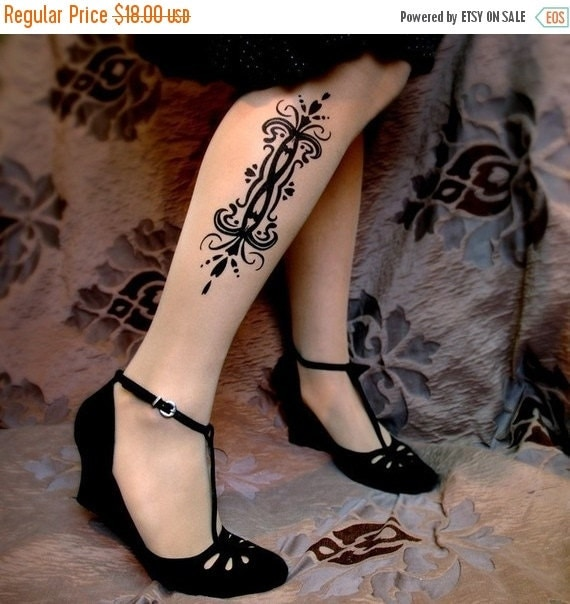 10%Off// sexy TATTOO 01 thigh-high socks LIGHT MOCHA