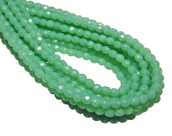 Fire Polished Czech Beads - 4mm Beads - Round Beads - 4mm Round - Mint Green - Czech Glass Beads - 50pcs (2376)