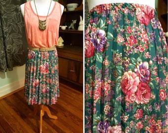 Vintage Floral Pleated Skirt L