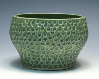Matte Green Bowl with Hand Carved Pattern