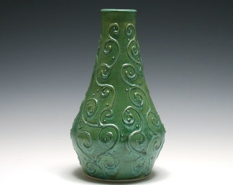 Jade Green Vase with Raised Swirls and Dots