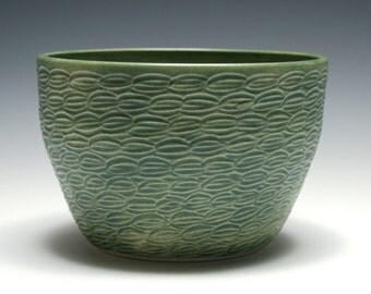Hand Carved Bowl with Matte Green Glaze