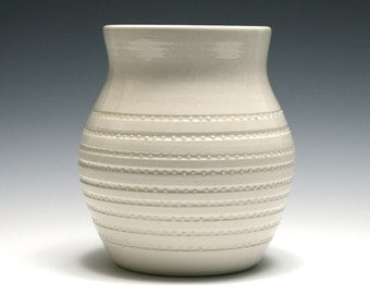 White Vase with Rows of Dots
