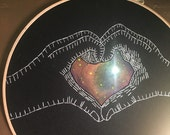 Cosmic Love - hand drawn, painted and embroidered wall hanging / hoop art with LED light