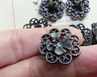 Last Set .... Eight, Pierced Metal, Flower Style, Buttons. Nice Weight.