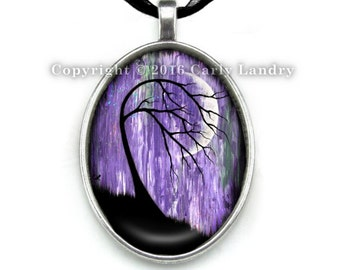 Purple Crescent Moon Black Tree Pendant Necklace Handmade Jewelry Art Gothic Ribbon Organza Silver Cabochon Abstract Low Brow Artwork Gift