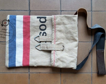 Postal Bag / Canvas Mail Bag / Messenger / Shoulder Bag / Vintage / Dutch flag / Red-white-blue