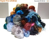 Christmas in July SALE Deluxe Needle Felting, Spinning Fiber Surprise / Challenge, large assortment of colors, texture fibers, locks, roving