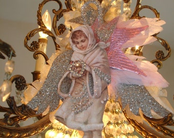 Victorian Christmas Angel Ariabella Ornament*Four sets of wings*Rhinestones*German glitter*Gorgeous*Breathtaking*OMG