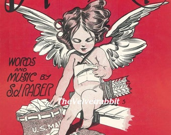 Cupid sheet music style*Drop a line to cupid *O DARLING*Digital download instant*Sewing.ornaments,tags,cards