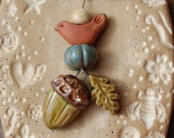 Fall Dream / Ceramic Acorn and Leaf Charm and Bird Bead Set