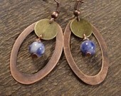 SALE Sodalite blue and white stone earrings, brass disks, antique copper ovals handmade earrings