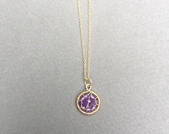 Tiny Amethyst Pendant with Delicate Chain