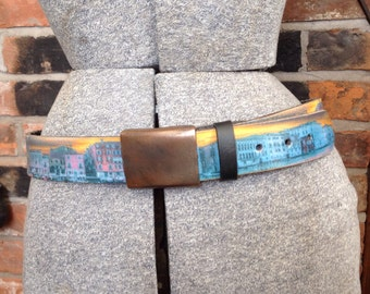 Leather Island Bill Levin leather belt size 34