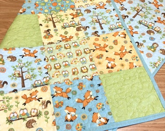 Baby Quilt Adorable Foxes and Owls Woodland Boy Girl Gender Neutral Nursery Crib Bedding