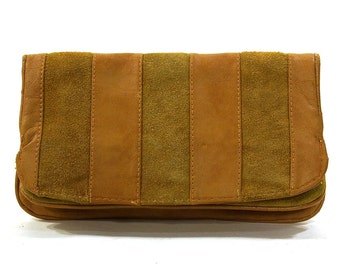 70s Suede Clutch / Vintage 1970s Patchwork Large Wallet or Clutch Bag