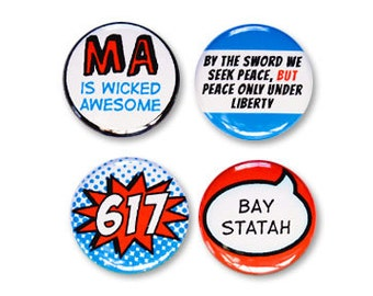 4 Massachusetts State Pride Magnet or Pinback Button Set
