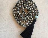Mala necklace, Dalmation jasper mala, Tassel necklace