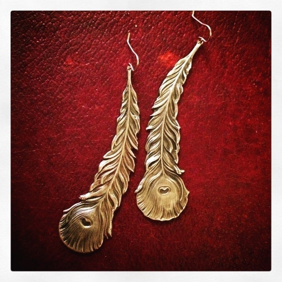 Gilded Feather Earrings