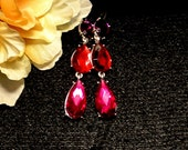 Purple Red Pink Dangle Earrings, Vintage Dangle Drop Earrings, 3 Colored Glass Dangle Earrings, Gift For Her, Mothers Day Gift