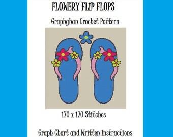Flowery Flip Flops - Graphghan Crochet Pattern