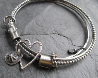 Silver Bangle Bracelet Charm Bangle Bracelet Mixed Metal Stamped Silver Heart Bracelet 2