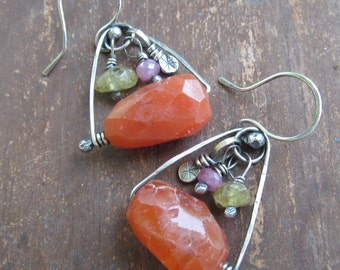 BOHO Dangling Earrings Silver Hot Orange Gemstone Earrings with Charms wire wrapped Gemstone Dangle Earrings