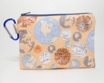 Globe Change Purse, Tan and Blue Large Carabiner Coin Purse