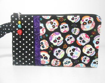 Skull Wristlet with Beaded Zipper Charm, Day of the Dead, Candy Skulls, Black Wristlet Halloween