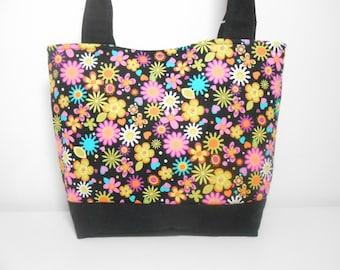 Black Medium Tote Bag, Black Floral Purse, Purple Floral Handbag