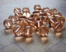 Pink Beads Round Druk Smooth Czech Glass 6 and 8 mm 20 Beads