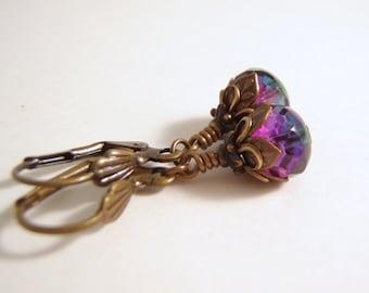 Faerie Tears Earrings Antique Brass Lever Back Ear Wire 9 x 6 mm Glass Rondelle Dangle