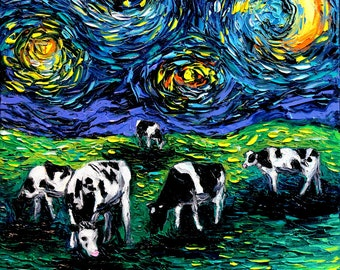 Starry Night Cows CANVAS Art - Cow Art print Starry Starry Pasture Aja 8x8, 10x10, 12x12, 16x16, 20x20, 24x24, 30x30 choose Country decor