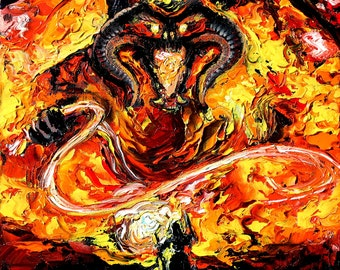Lord of the Rings Art - Balrog vs Gandalf LOTR van Gogh Never Passed - Giclee print by Aja 8x8, 10x10, 12x12, 20x20, and 24x24 choose size