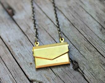 Mini Brass Envelope Necklace on 16 inch Brass Chain