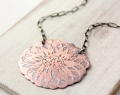 Etched Copper and Oxidized Silver Necklace